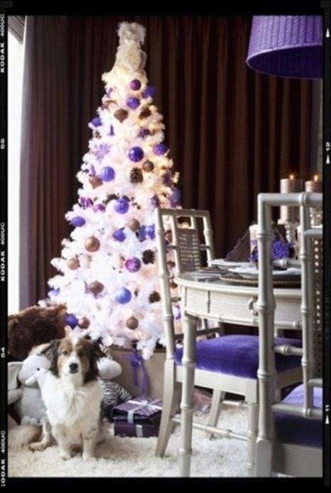 Arbol navidad blanco y malva