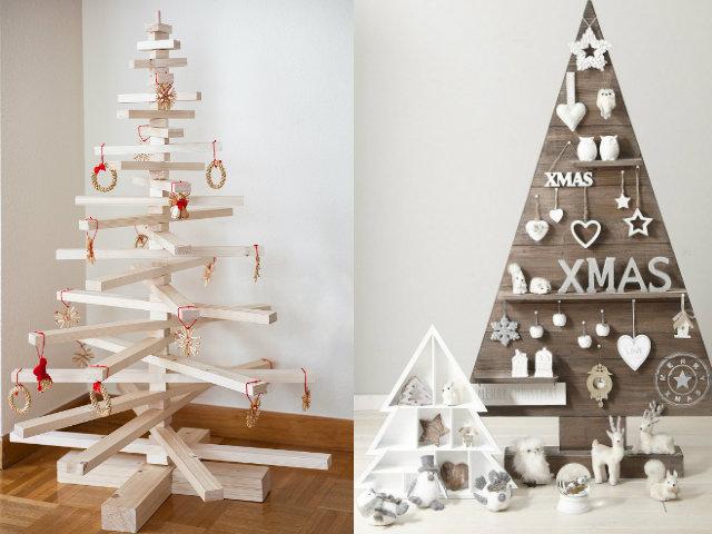 Arboles navidad decoracion madera blanco blogdecoraciones - Arboles de navidad de madera ...