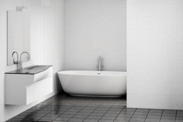 Banos de color blanco suelo negro