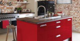 Diseños de cocinas rojas 2017