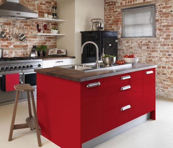 Dise os de cocinas rojas 2018 blogdecoraciones - Cocinas rojas modernas ...