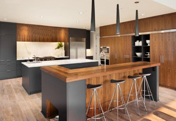 Cocinas americanas con isla madera y negra