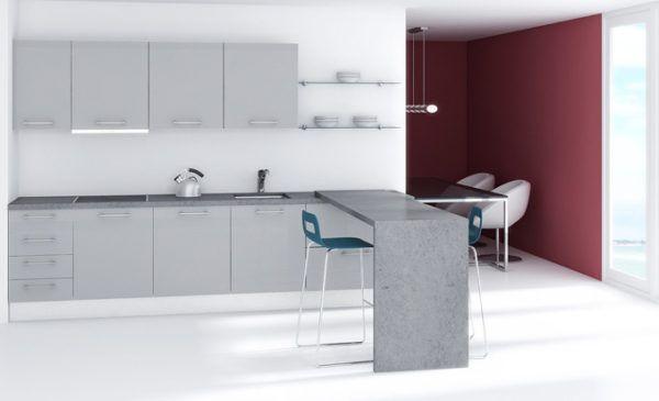 suelos y paredes en color gris y muebles en rojo conseguirn que tu cocina en se convierta en un espacio vivo y a la vez elegante with cocinas blancas y