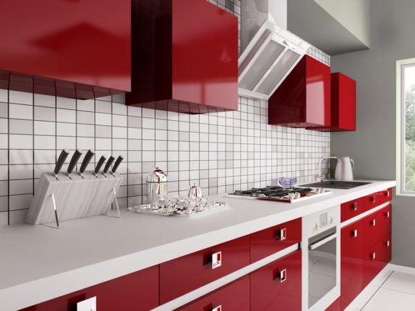 Cocinas modenras integrales roja
