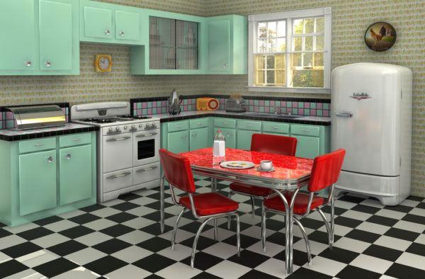 Cocinas vintage con mesa roja