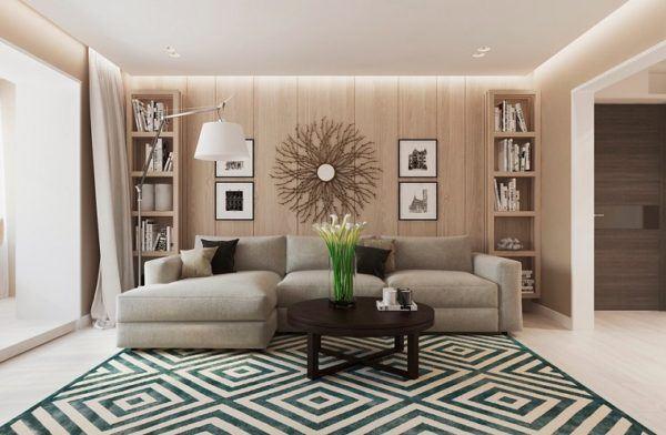 en la imagen superior podemos ver un contraste muy interesante la pared principal se ha decorado con paneles de madera a modo de friso ancho en madera de