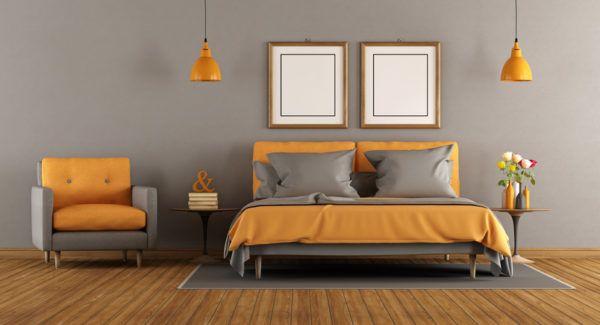 Colores que combinan con gris naranja dormitorio