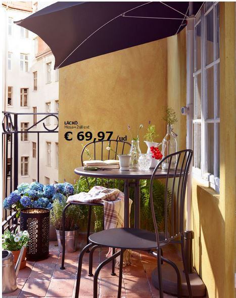 Decoraci n de balcones y terrazas peque as for Table de balcon ikea