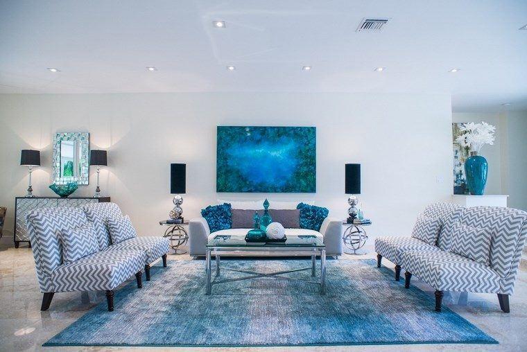 Decoracion Salones Modernos Alfombras Azul