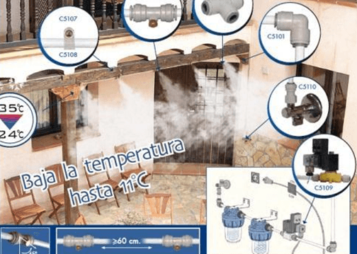 Bajar la temperatura ambiente con nebulizadores de agua (al aire libre)