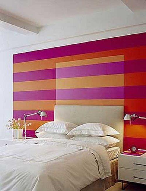 pintar las paredes a rayas rosa y naranja - Pintar Paredes A Rayas