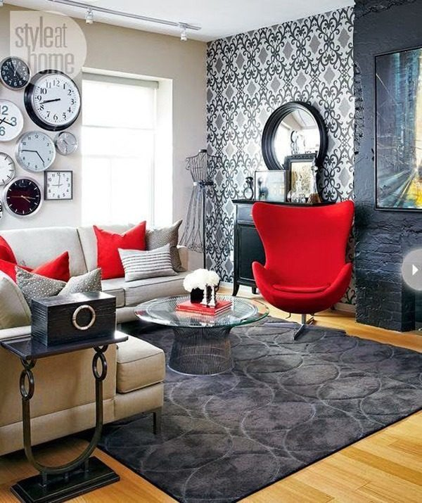 Salones modernos pequenos mesa sofas rojos blogdecoraciones for Salones modernos pequenos