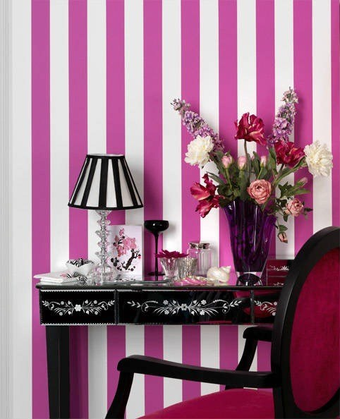 Papel pintado a rayas blogdecoraciones - Dormitorios pintados a rayas ...